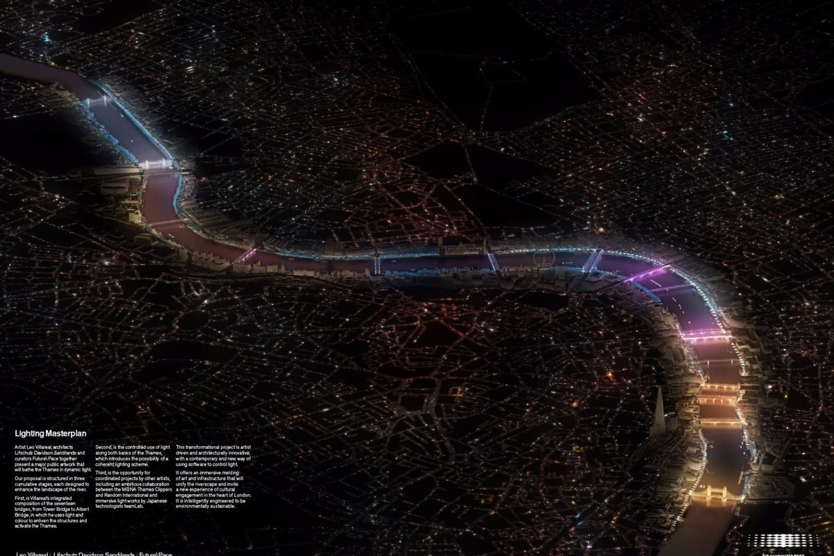 """Leo Villareal's """"Current"""" concept will see 17 bridges along London's River Thames lit up with colorful LED lighting"""
