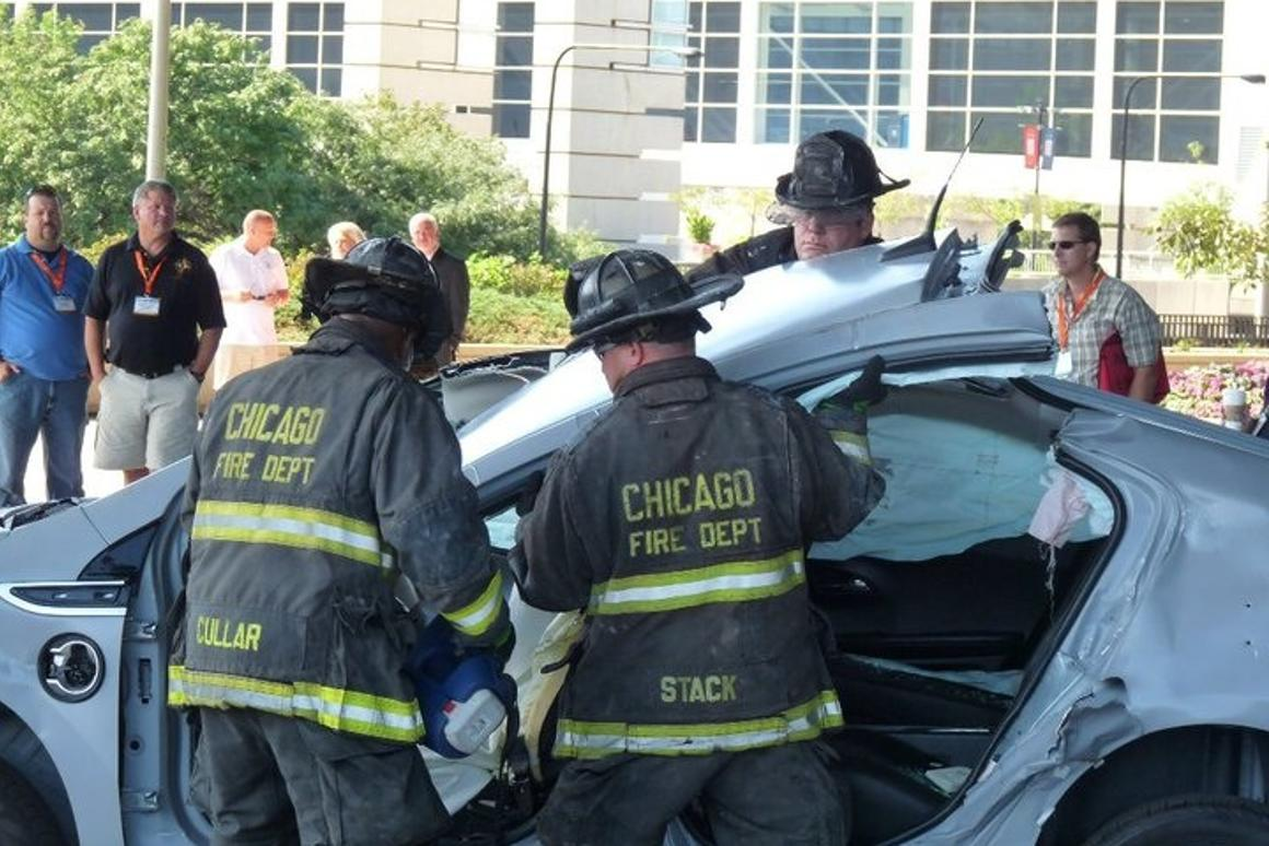 Chicago firefighters learn how to respond to EV accidents, using a donated Chevrolet Volt