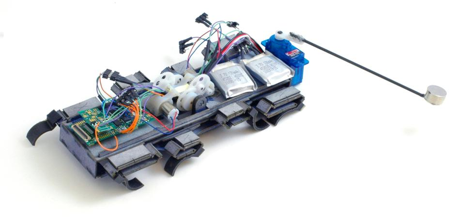 The 100-mm scale OctoRoACH robot can turn using differential drive at 100 degrees per second, or with a dynamic tail with peak turn rates of 400 degrees per second (Photo: UC Berkeley Biomimetic Millisystems Lab)