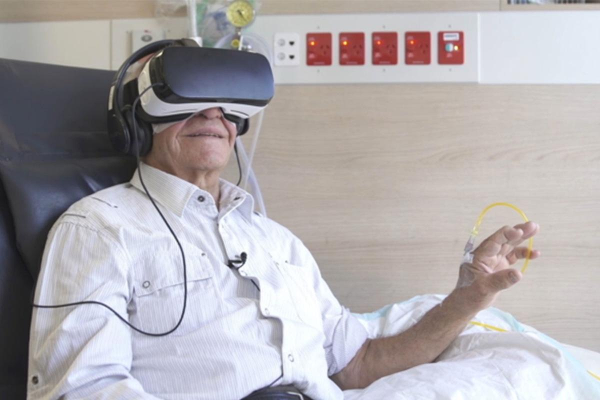Escaping into virtual reality can be a welcoming distraction for individuals battling a cancer diagnosis