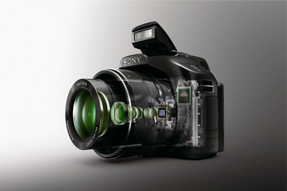 Cutaway of the DSC-HX100V, which features a 30x optical zoom Carl Zeiss lens, high speed autofocus that is said to lock onto a subject in as little as 0.1 seconds, and the ability to record full 1080p movies