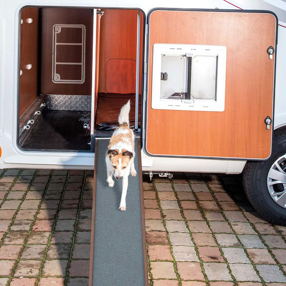 The dual-part rear cargo area includes the kennel and general storage behind a single door