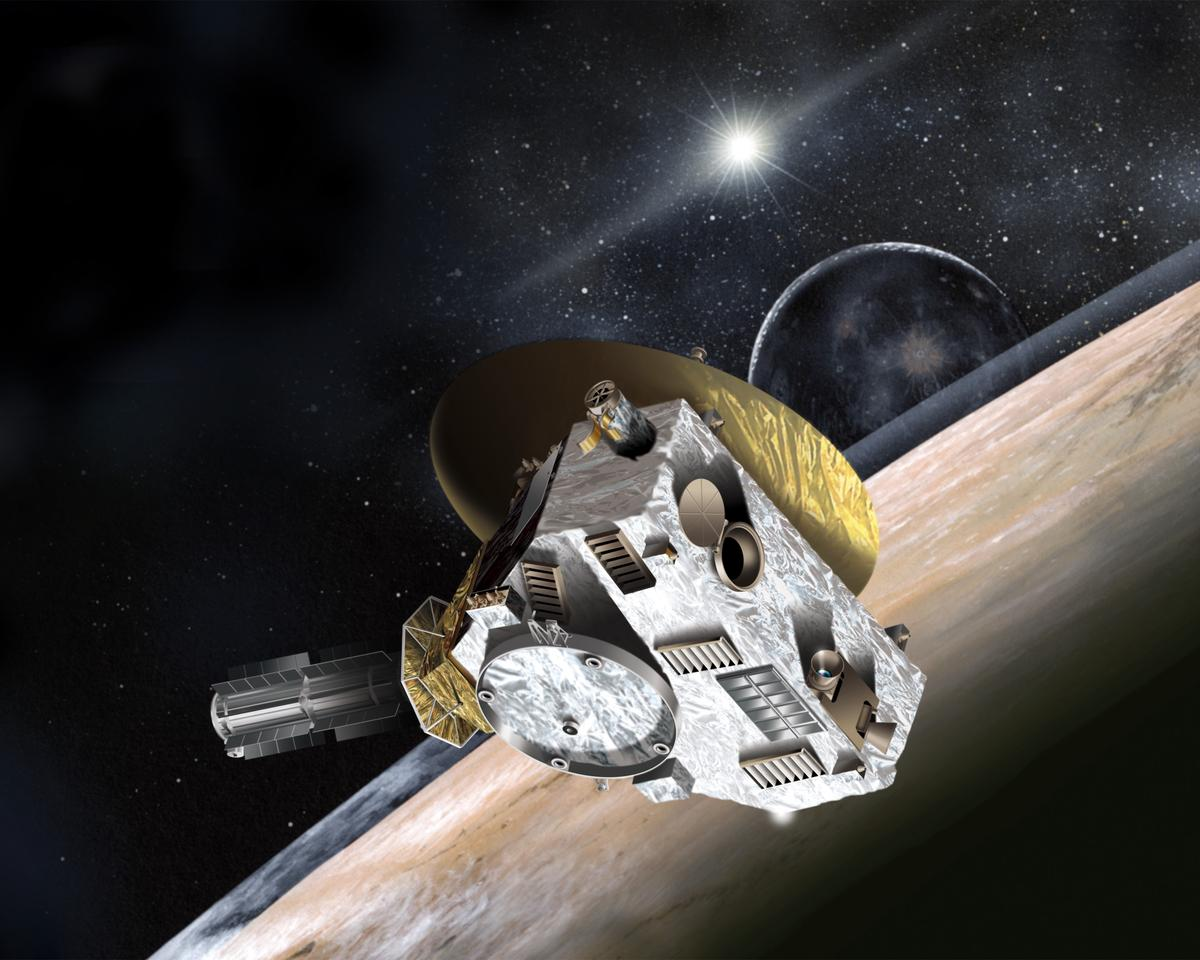 Artist's concept of New Horizons flying past Pluto (Image: NASA)