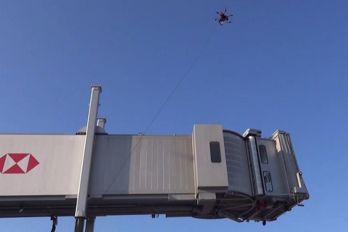 The tethered drones were used to inspect high walkways at Paris-Charles de Gaulle airport