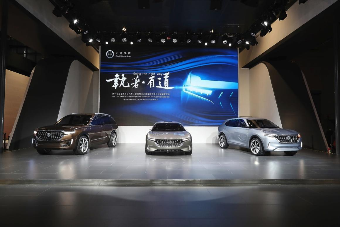 The new family includes a sporty sedan (center), seven-seat SUV (left) and sporty five-seat SUV (right)