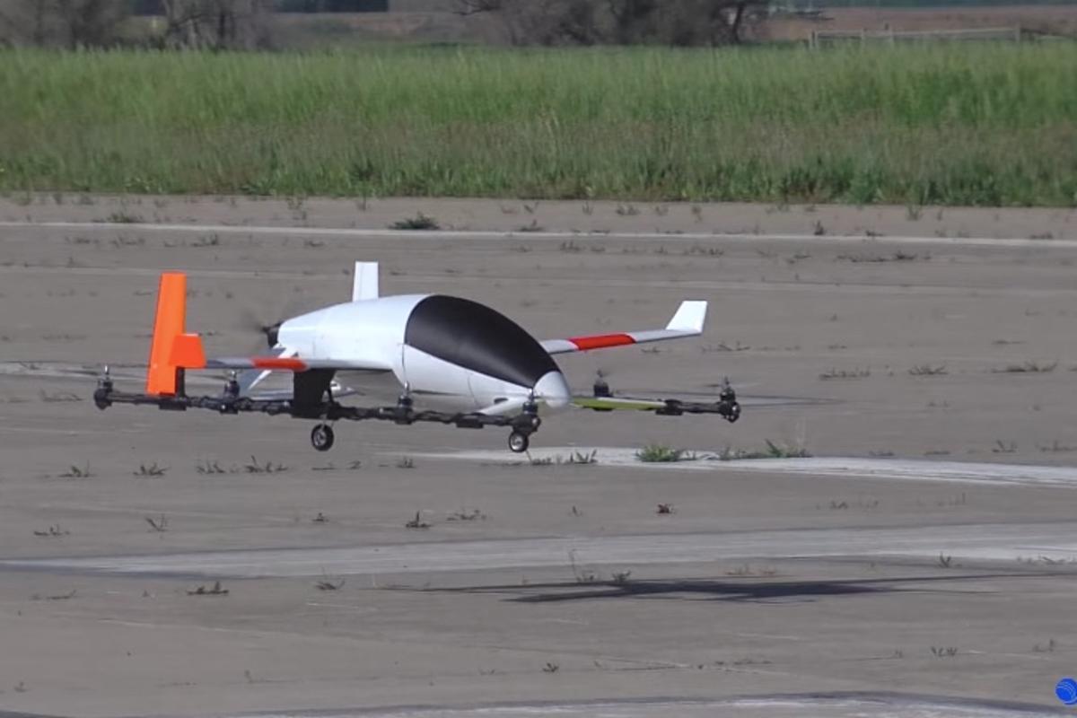 The subscale eVTOLmodel in flight