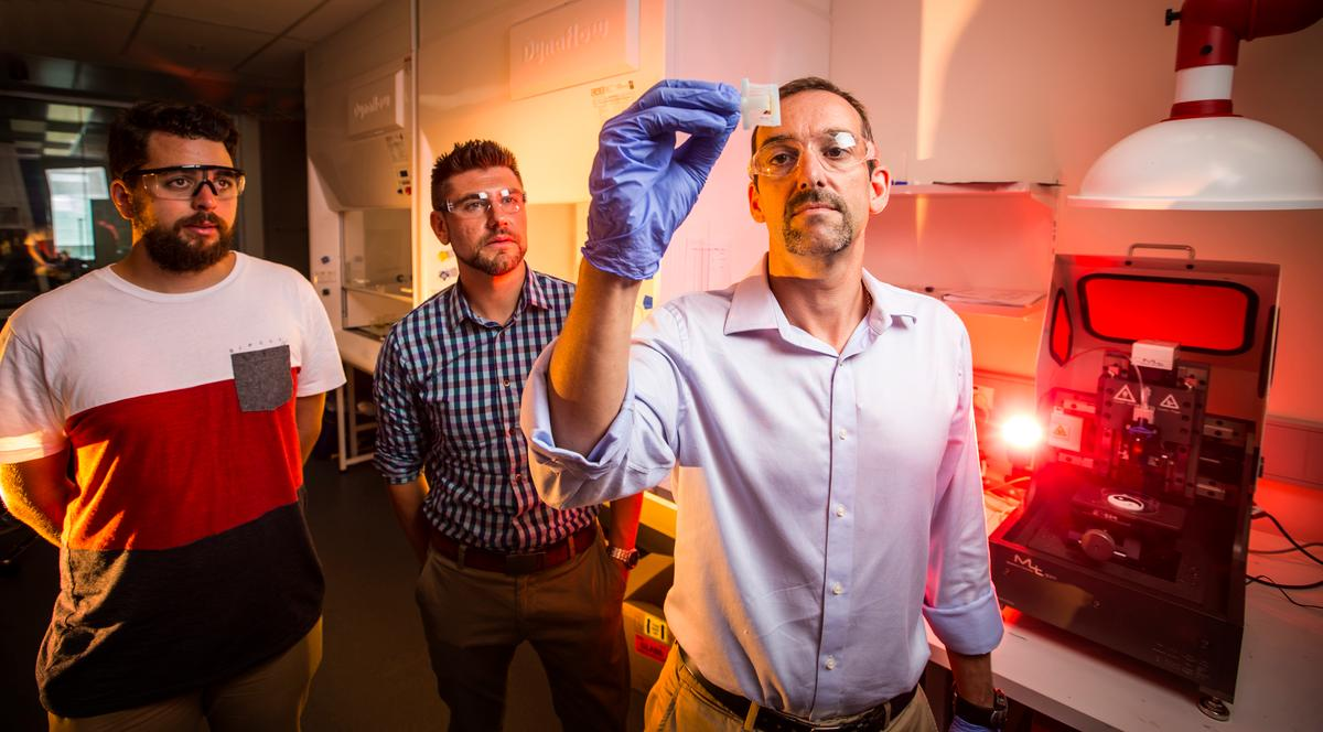 Professor Marc in het Panhuis (left) and PhD student Shannon Bakarich are building objects using 4D printing, where time is the fourth dimension (Photo: University of Wollongong)