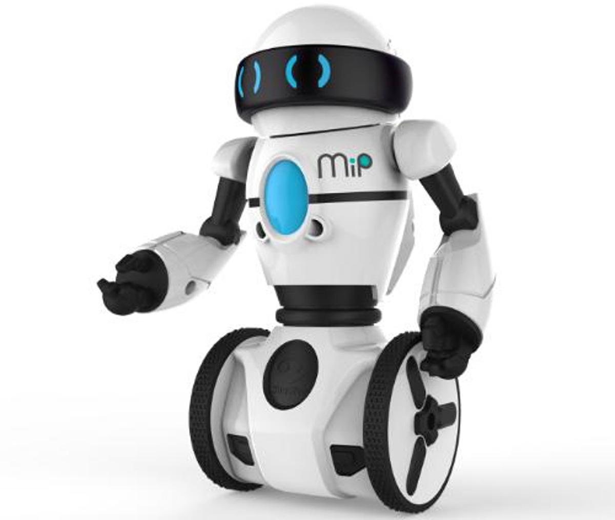 MiP balances on two wheels, using the mobile inverted pendulum principle