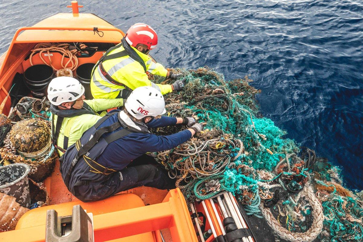 Workers on the Ocean Cleanup Project did manage to pull some large ghost nets from the water while it did the tinkering