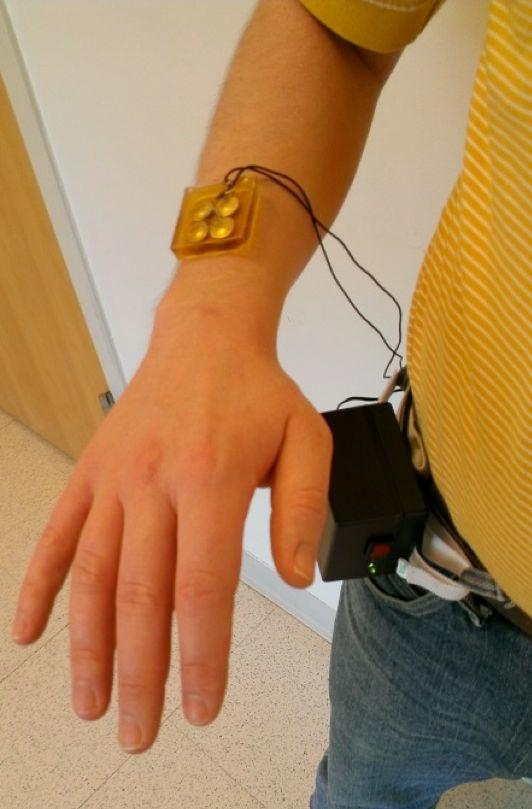 One of the prototype ulcer-healing patches