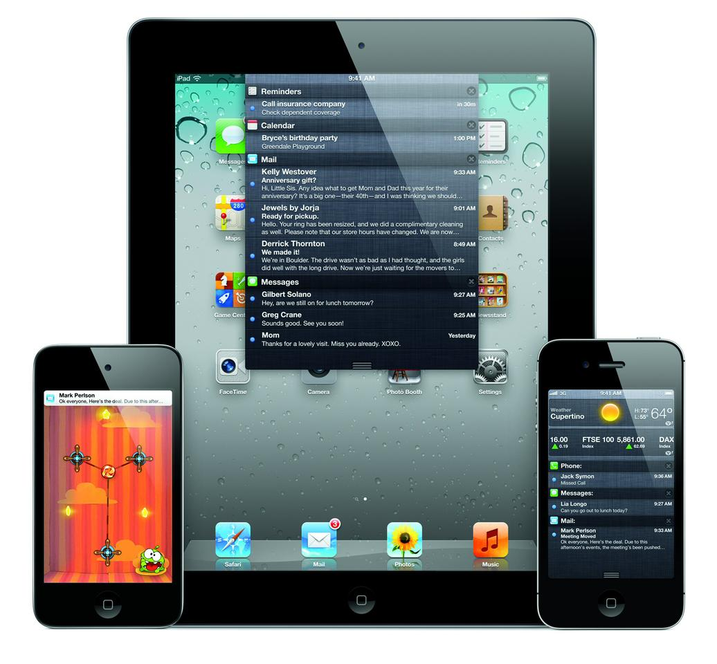 The iOS 5 platform includes over 200 new features, including a swipe down Notification Center