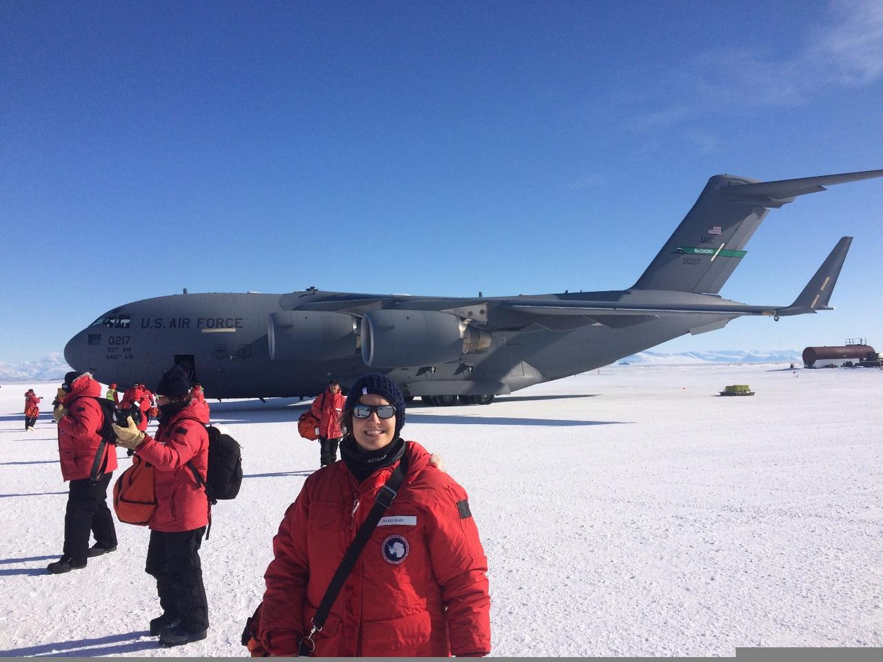 Members of the GRIPS balloon team take their first steps on the Antarctic ice