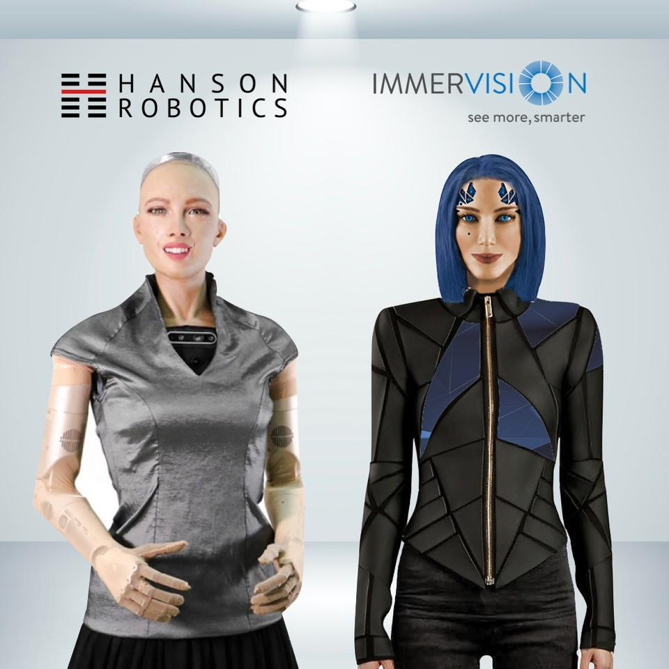 Sophia, on the left, and Joyce, on the right, will share technologies as part of a new partnership between the two robotics companies
