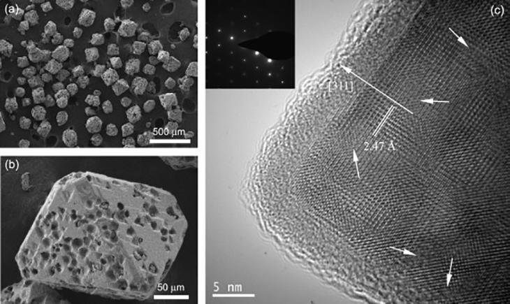 Electron micrographs of tiny superparamagnetic particles