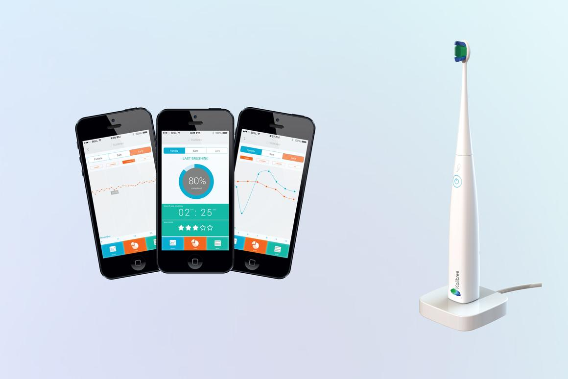 Kolibree is fitted with an accelerometer, gyroscope and a magnetometer to encourage good brushing habits