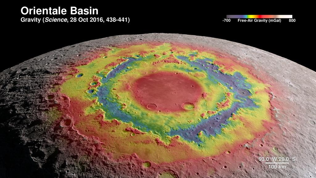 The Orientale Basin showing surface gravity measurements taken by NASA's Gravity Recovery and Interior Laboratory (GRAIL) mission