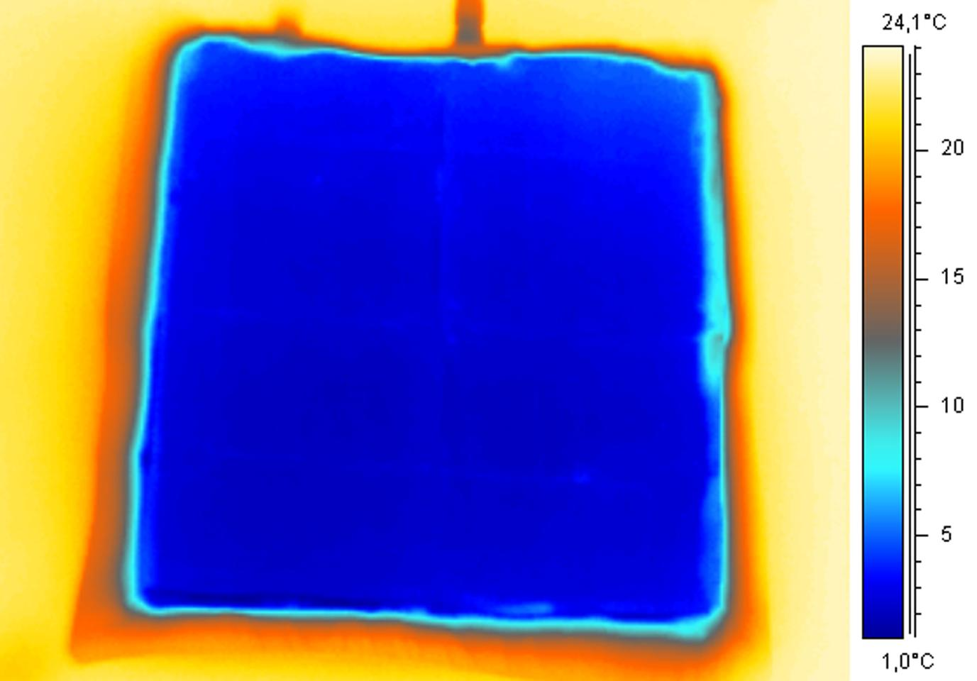 An infrared image of one of the cooling pads, illustrating how cold they get