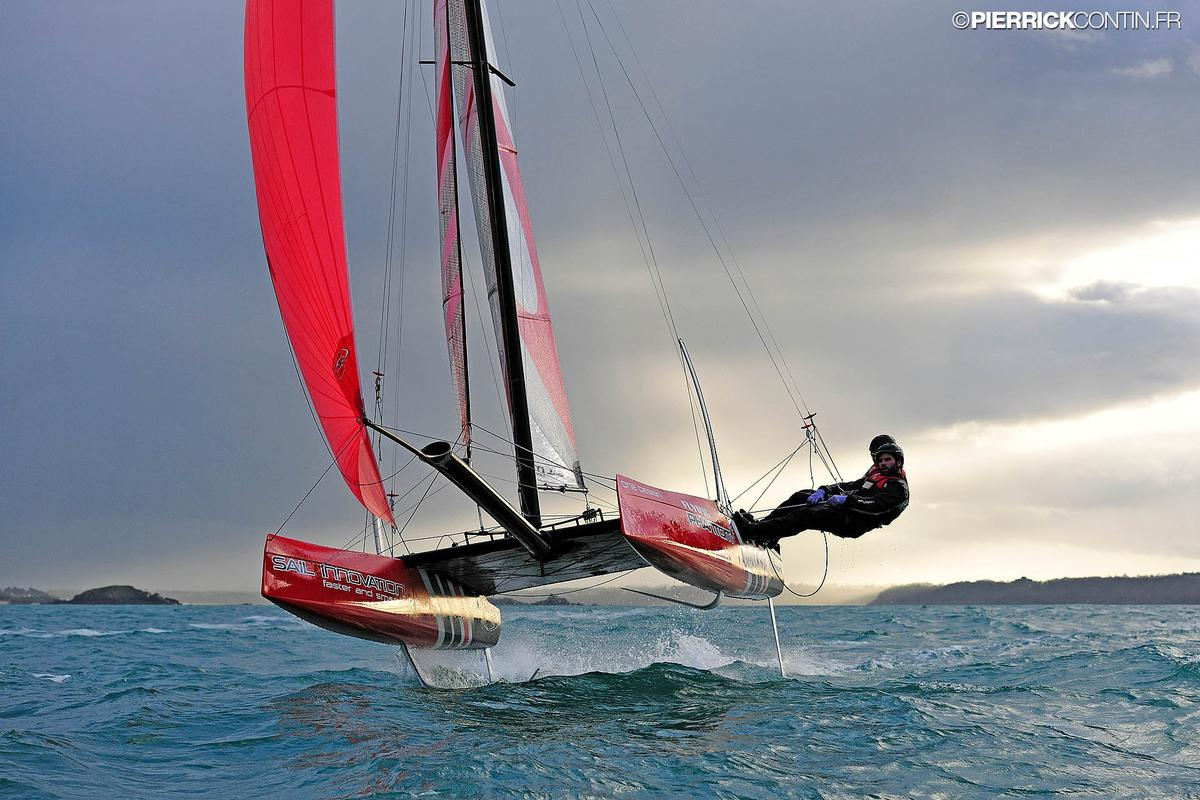 The Flying Phantom catamaran seems to levitate above the water as it hydrofoils.