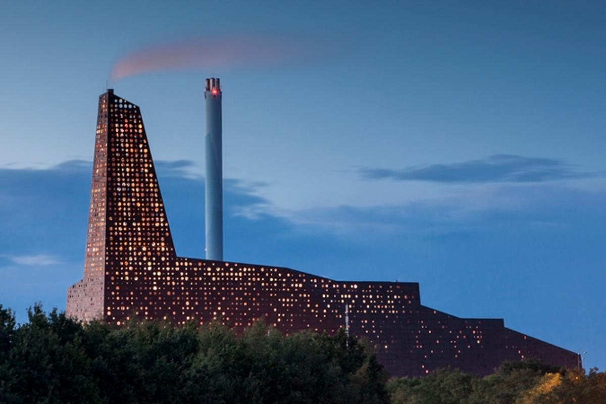 The Energy Tower is a new waste-to-power incinerator in Roskilde, Denmark