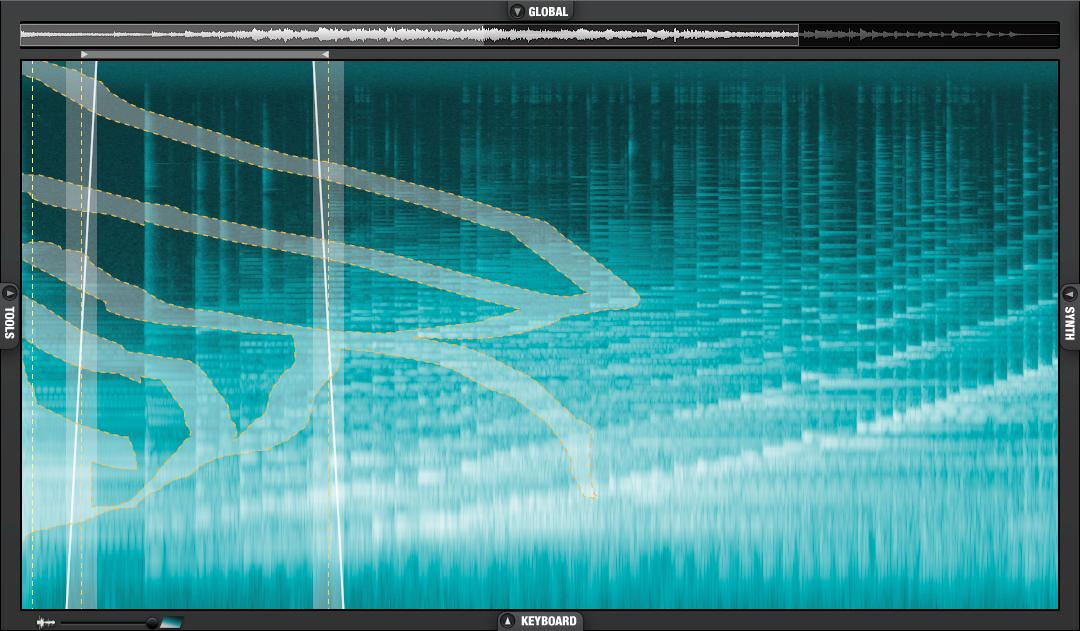 With the brush tool, users can paint patterns on the spectrogram display to isolate sections of source audio to create whole new sounds