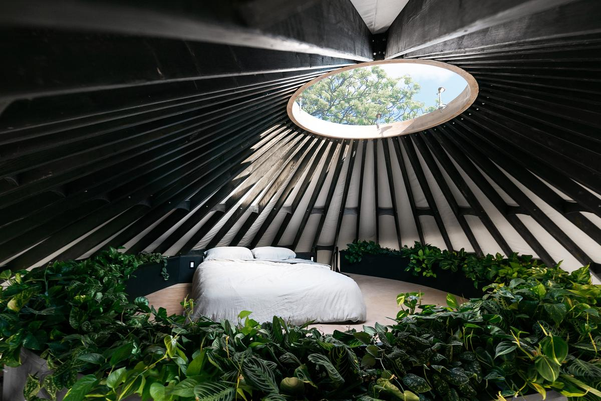 Portland couple Zach Both and Nicole Lopez have recently finished building their very own impressive Yurt home with interior loft garden