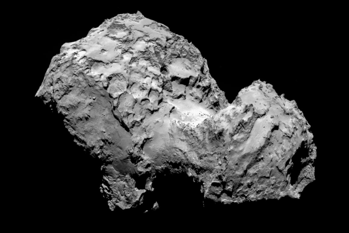 The Rosetta spacecraft is now in orbit around comet 67P/Churyumov–Gerasimenko (Image: ESA)