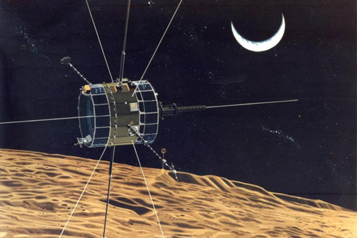Artist's impression of ISEE-3 on a lunar flyby (Image: NASA)