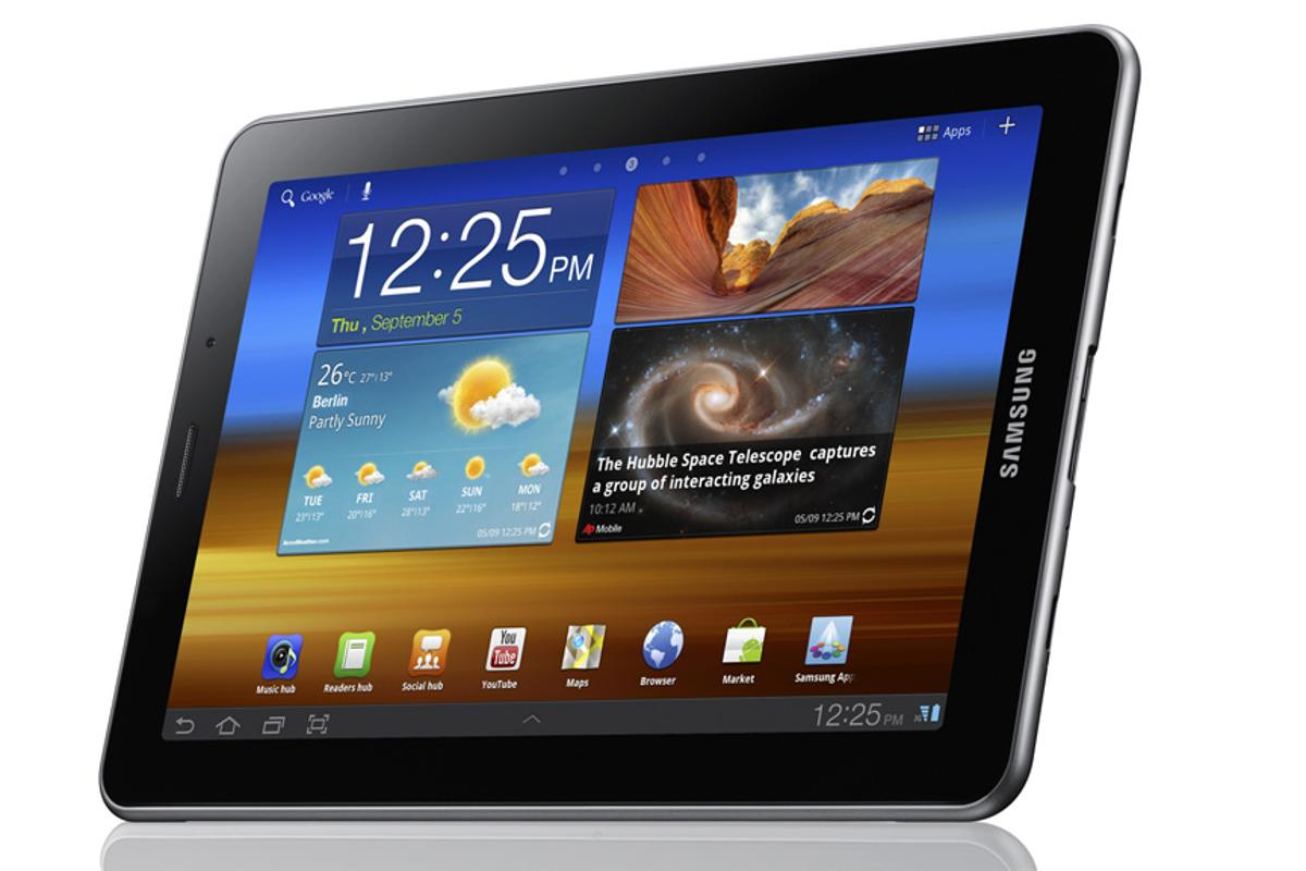 The Samsung Galaxy Tab 7.7 features a 1280 x 800 Super AMOLED Plus display