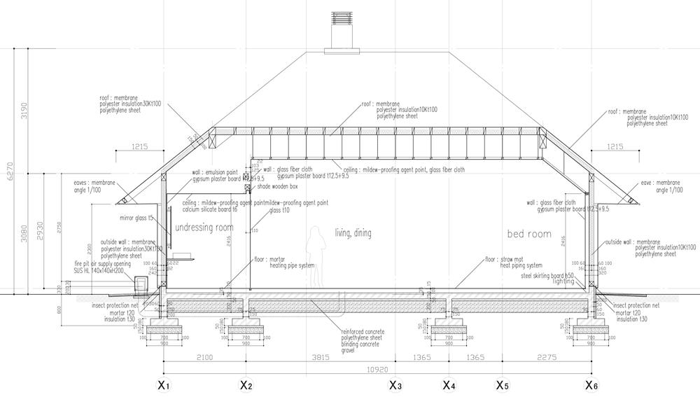 Sectional view of the experimental house