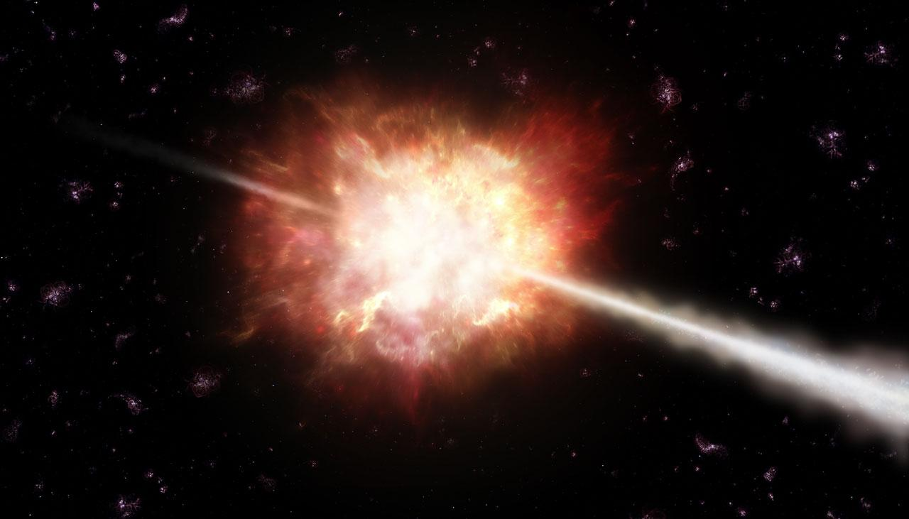 An artist's impression of a gamma ray burst in space