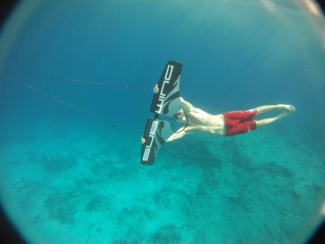 "The Subwing is a device that is towed behind a boat, allowing the rider to ""fly"" underwater"