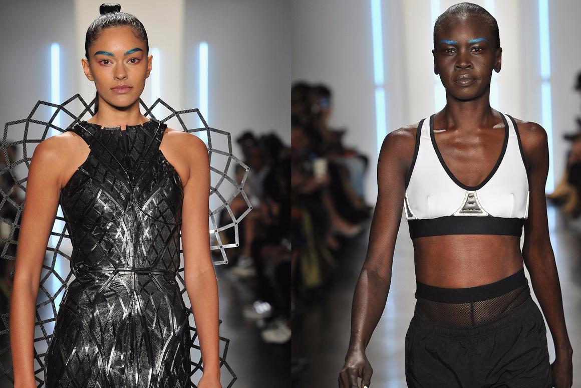 Chromat's Adrenaline Dress (left) and Aeros Sports Bra (right) demonstrate some possible uses for Intel's wearable-focused Curie module