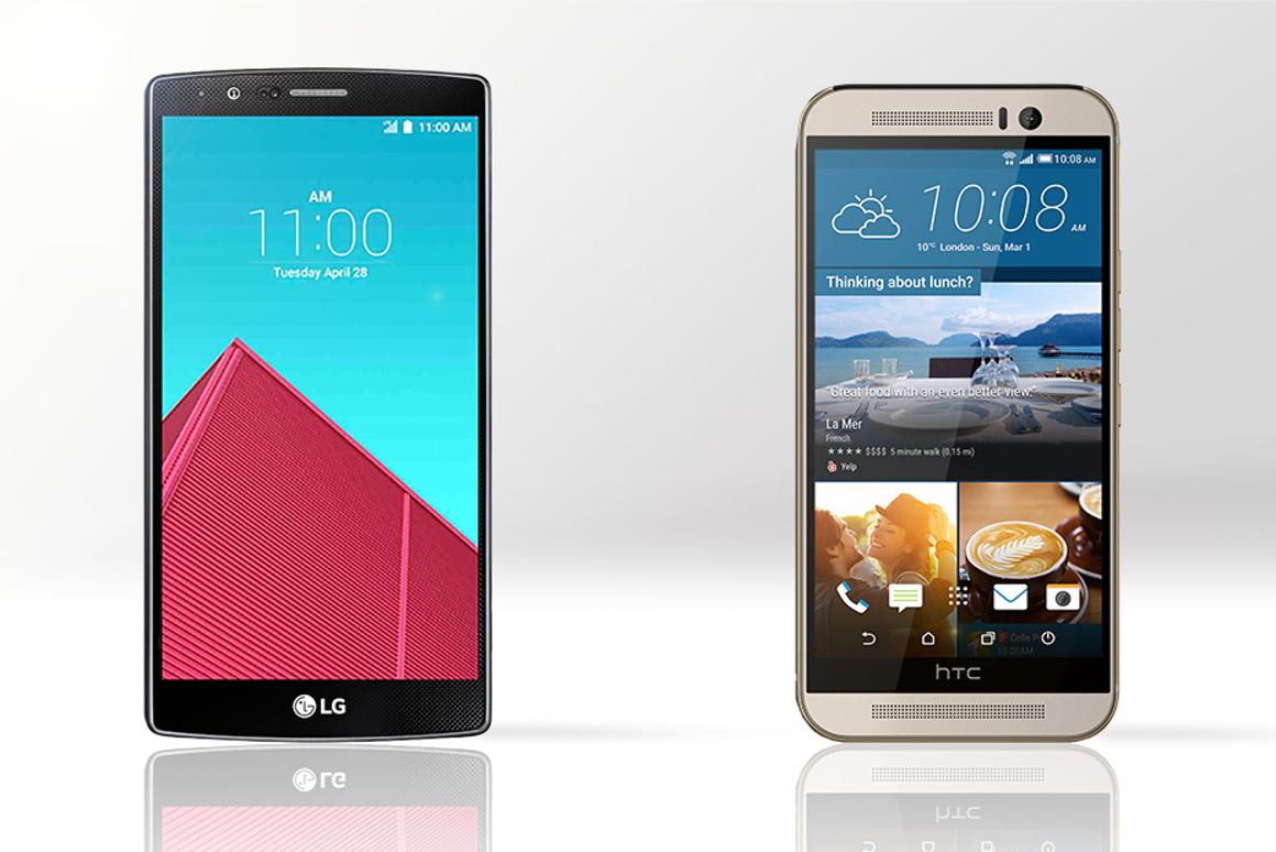 Gizmag compares the features and specs of the LG G4 (left) and HTC One M9