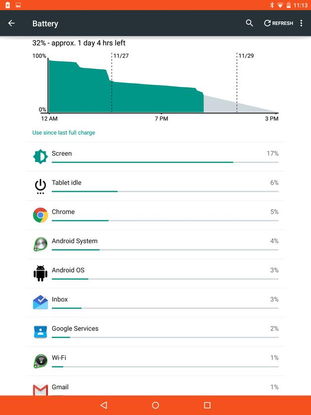 Lollipop's new battery monitor and battery saving mode