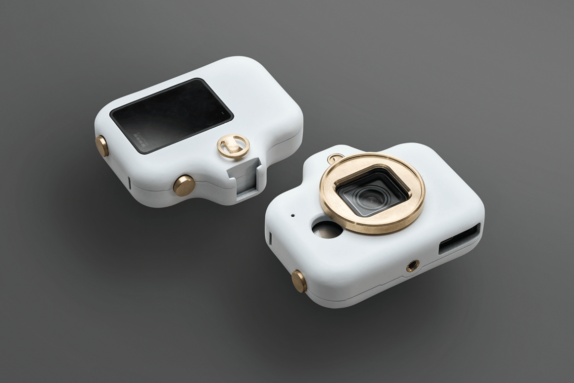The Asokee GoPro case, in Royal White