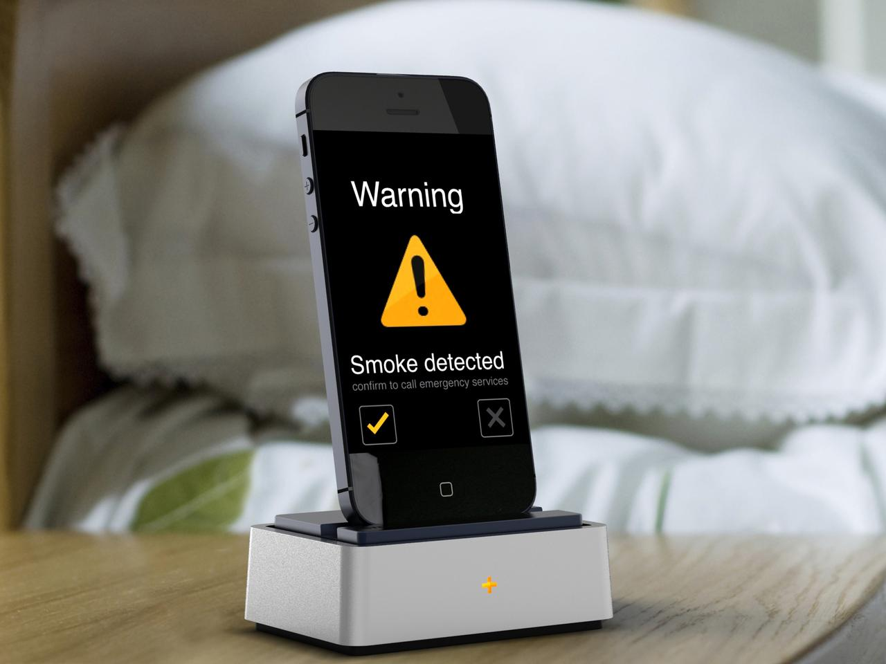 The Sense+ smartphone dock will sound an alert in the event of fire