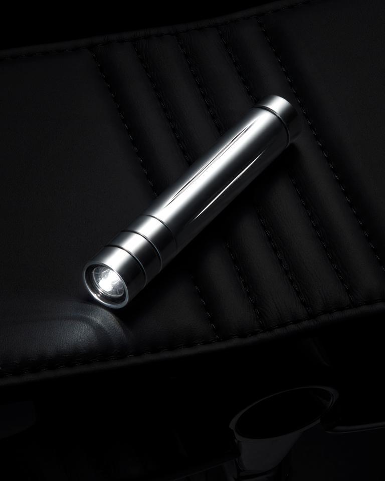 A flashlight for nighttime sits