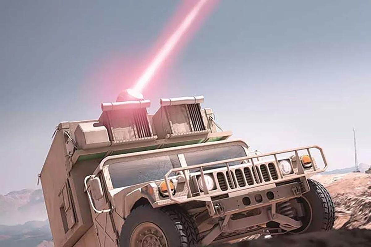 The proposednew non-lethal laser would need to be vehicle-mountable like this high-energy laser being developed for the US Marine Corp by Raytheon