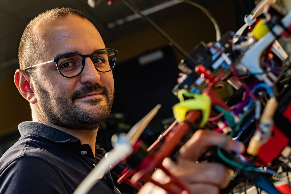 Riccardo Petrolo, a postdoctoral researcher at Rice University, has helped develop drones that can detect volatile organic compounds in the air
