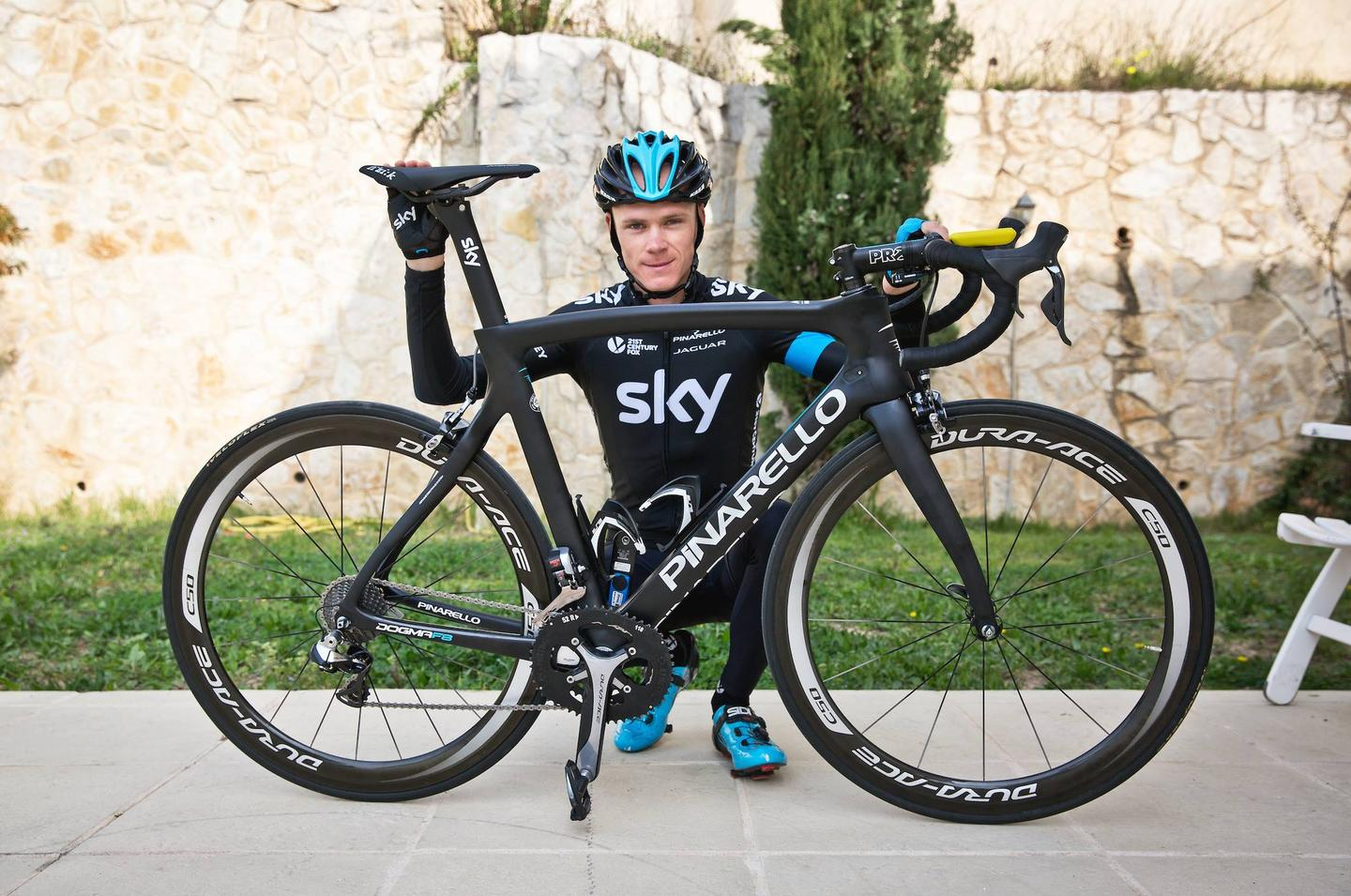 Team Sky rider Chris Froome, with the new Pinarello Dogma F8