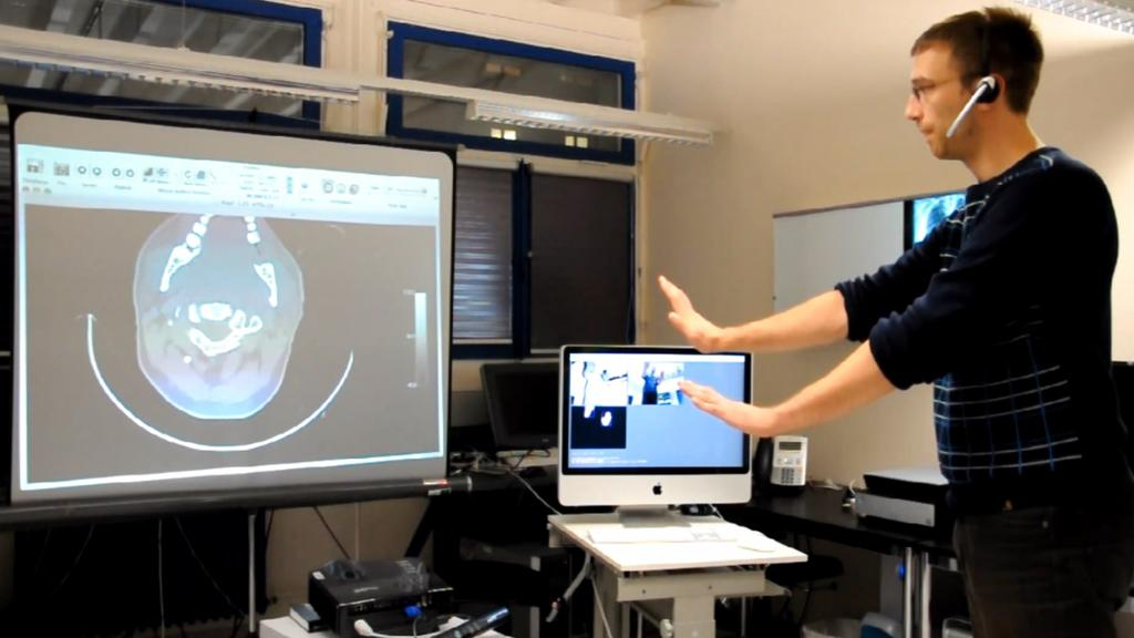 The hands-free interface developed by the Virtopsy research project to review medical images using Microsoft's Kinect