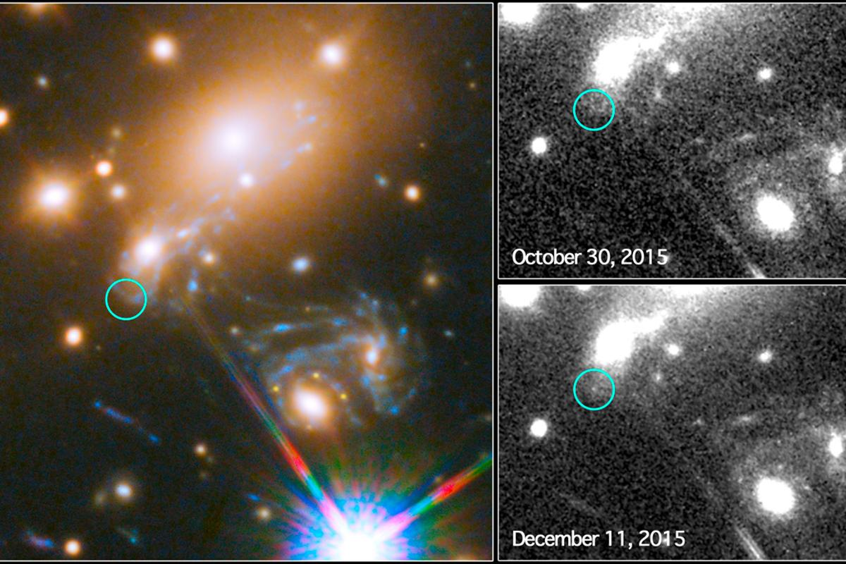 The left-hand image displays the location of the Refstal supernova in a larger context, while the image on the top right shows a Hubble search for the Refstal supernova prior to the occurrence – the bottom right image displays the location of the now-visible supernova