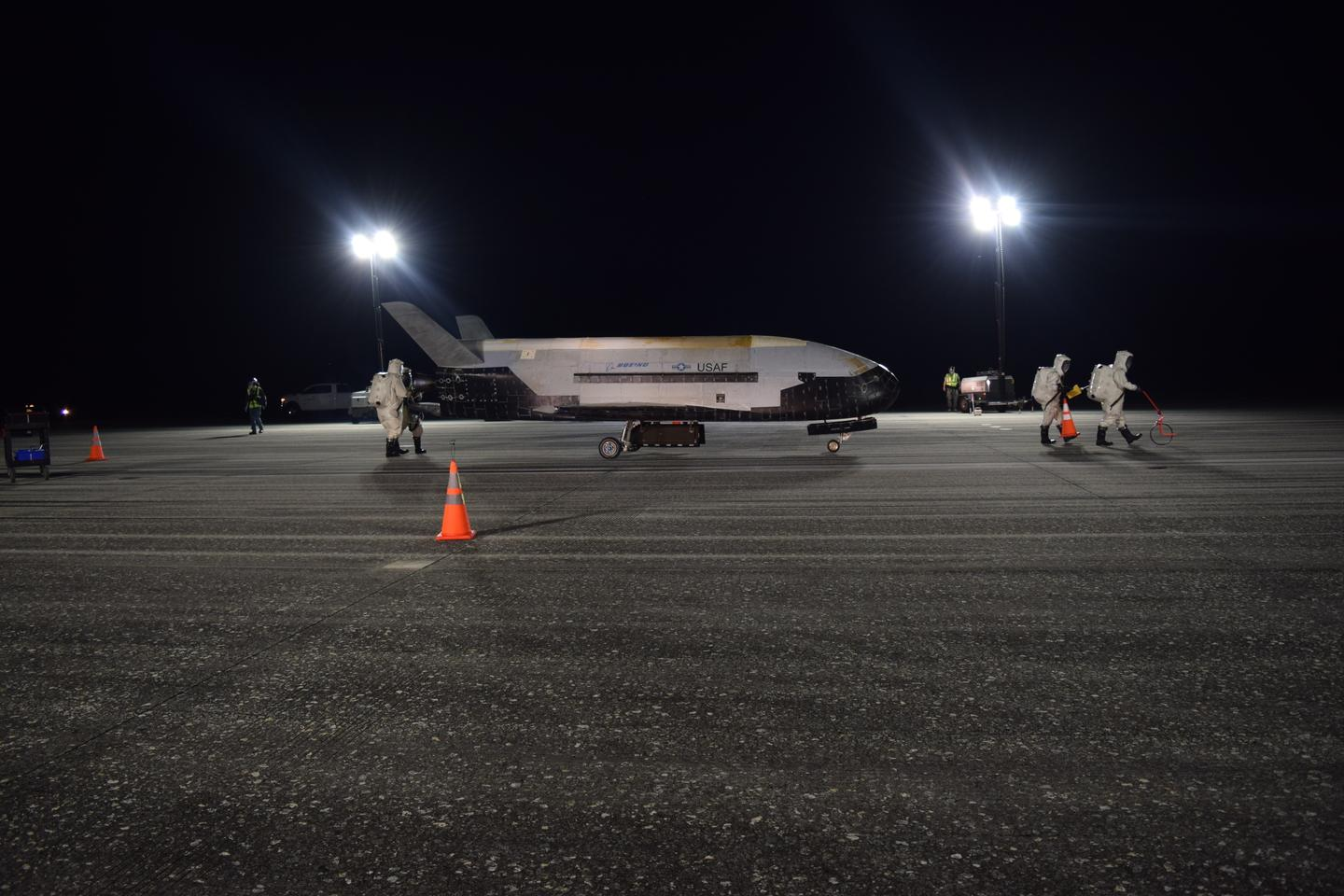 The Air Force's X-37B Orbital Test Vehicle Mission 5 successfully landed at NASA's Kennedy Space Center Shuttle Landing Facility Oct. 27, 2019
