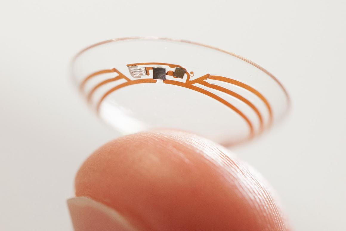 Google's prototype blood sugar-monitoring contact lens uses a wireless chip and miniaturized glucose sensor