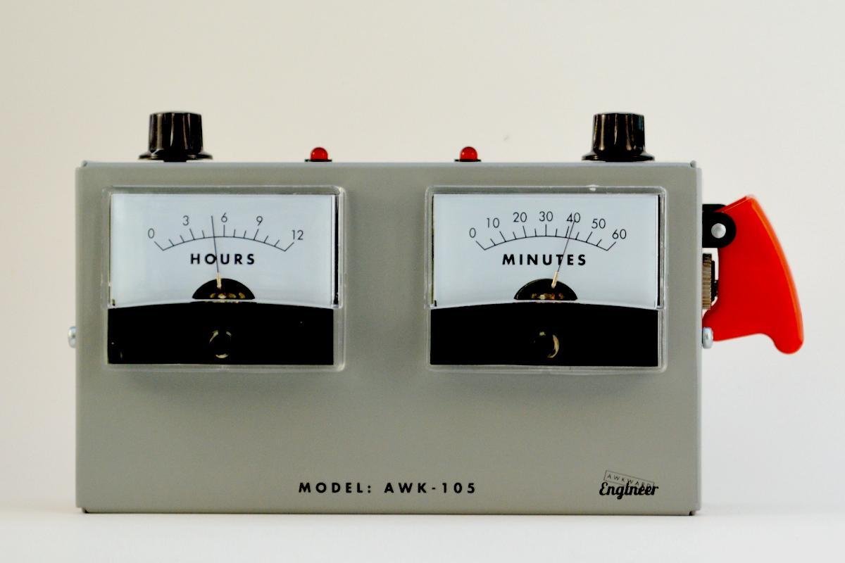 The Voltmeter Alarm Clock, in stunning grey