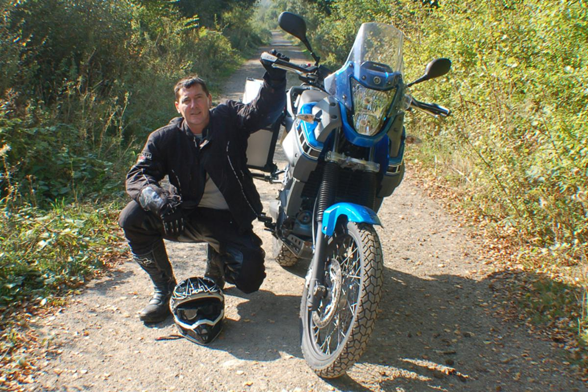 Spencer Conway on the beaten track in Africa with his trusty Yamaha XT 660 Z Tenere