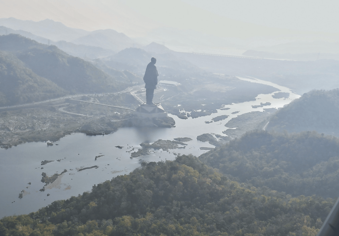 The Statue of Unity overlooks the Narmada river