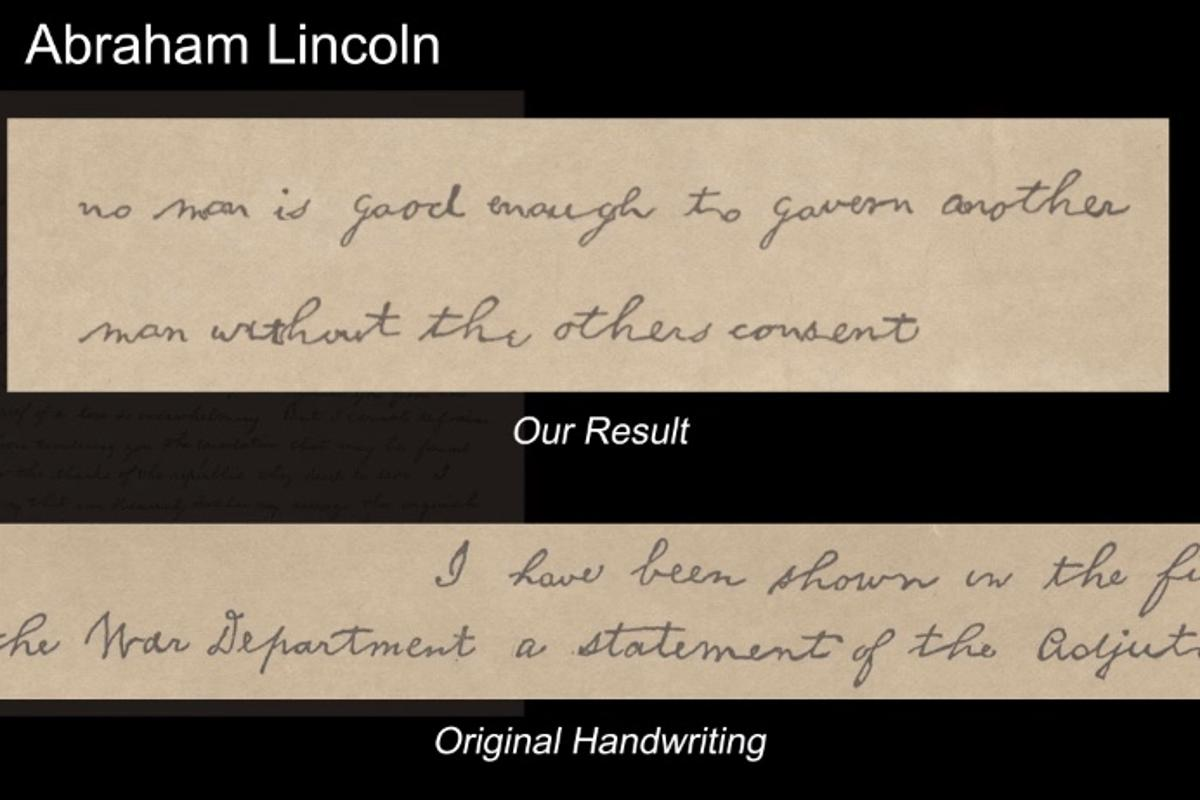 The software creates new text (top) after analyzing a provided handwriting sample (bottom)