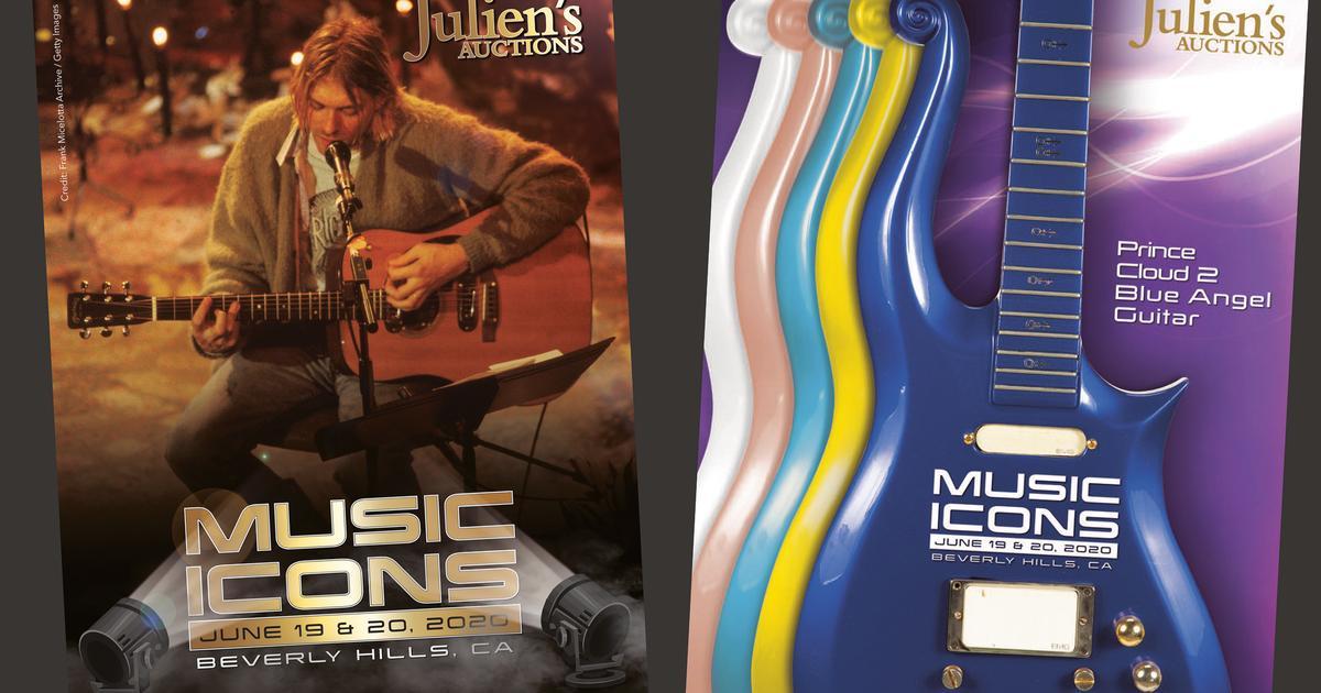 Prince, Kurt Cobain, Bill Wyman, Brian Jones guitars head to auction