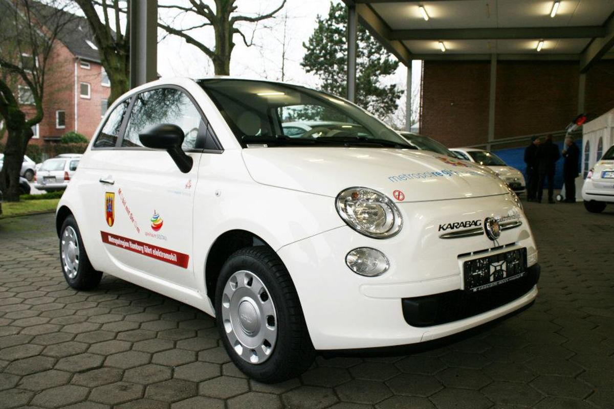 The converted Fiat 500 trades its gas engine for an electric forklift motor